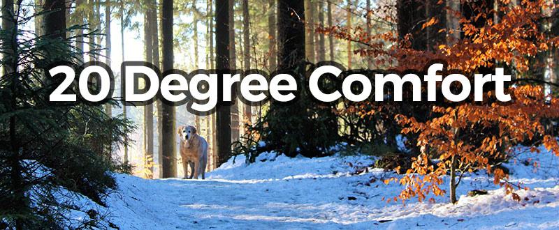 20 degree comfort overlayed near snow