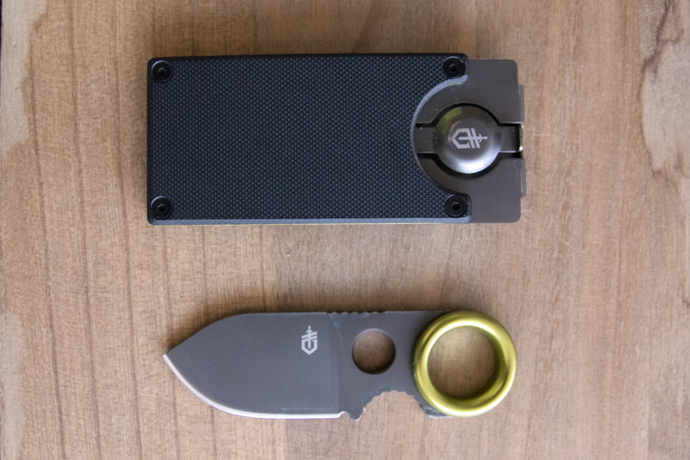 gerber gdc money clip and knife side-by-side
